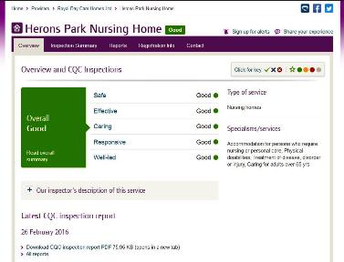 Good CQC Report for Herons Park Dementia Care Home Kidderminster, Worcestershire